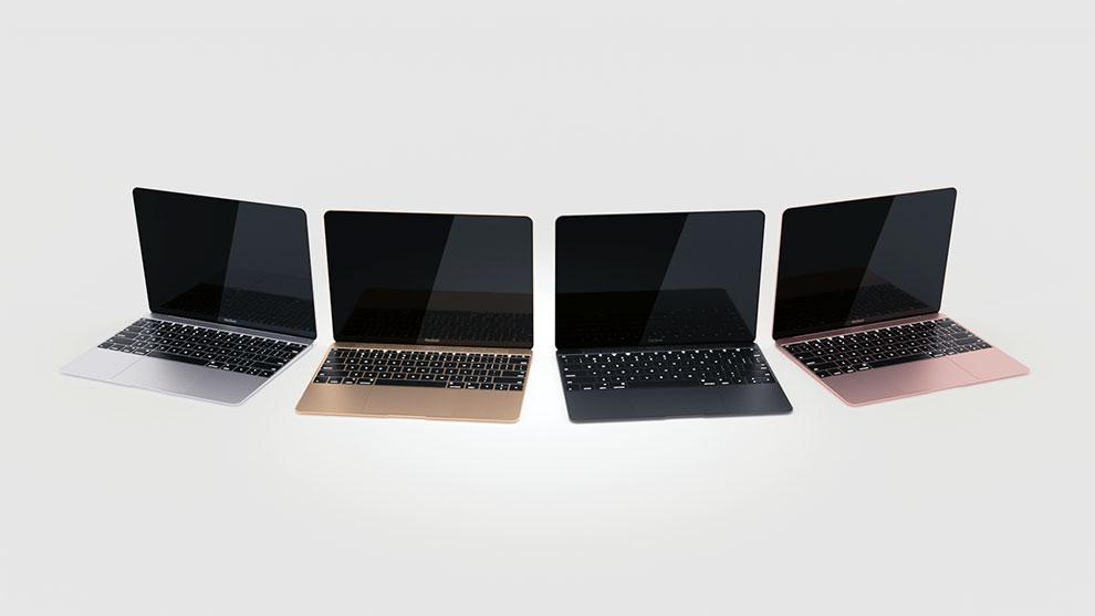 مدل سه بعدی مک بوک 12 اینچی اپل 2016