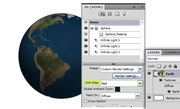ایجاد یک زمین براق با لایههای 3D فتوشاپ