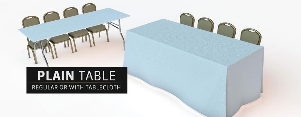 مجموعه مدل های سه بعدی سینمافوردی برای نمایشگاهها و رویدادها - میز ساده معمولی و پوشیده شده