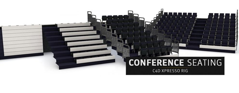 مجموعه مدل های سه بعدی سینمافوردی برای نمایشگاهها و رویدادها - محل استقرار صندلی های کنفرانس
