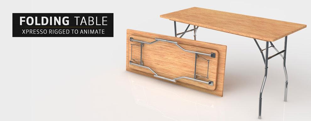 مجموعه مدل های سه بعدی سینمافوردی برای نمایشگاهها و رویدادها - میز تاشو ریگ شده در xpresso برای انیمیشن