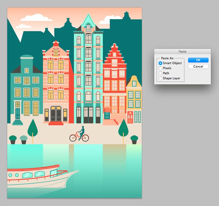 روش ساخت چشماندازی از شهر آمستردام در ایلوستریتور و فتوشاپ