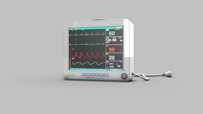 مجموعه مدل های سه بعدی پزشکی - مانیتور ضربان قلب (نوار قلب EKG)