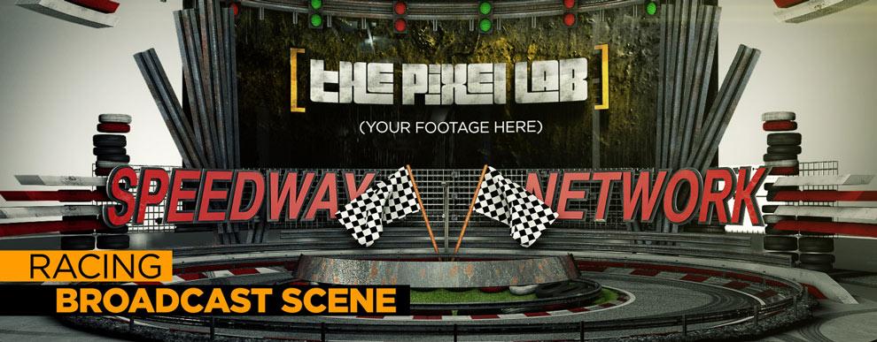 مجموعه مدل های سه بعدی صفحه نمایش ویدیو - صحنه پخش مسابقه ماشین
