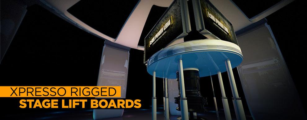 مجموعه مدل های سه بعدی صفحه نمایش ویدیو - صفحه های نمایش بالابر روی صحنه