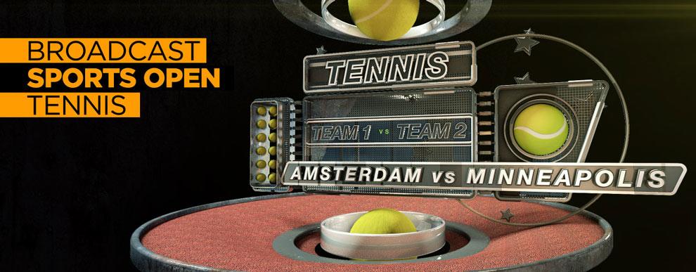 مجموعه مدل های سه بعدی صفحه نمایش ویدیو - صحنه ورزشی باز پخش مسابقه تنیس