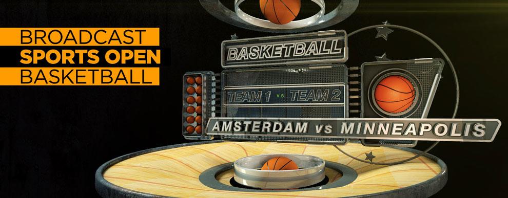 مجموعه مدل های سه بعدی صفحه نمایش ویدیو - صحنه ورزشی باز پخش مسابقه بسکتبال