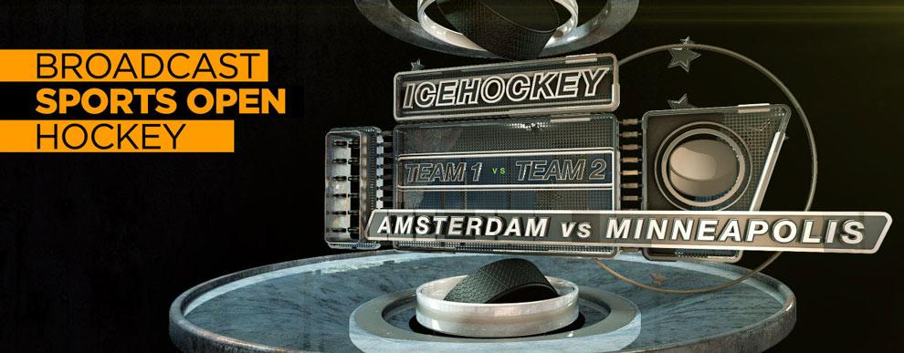 مجموعه مدل های سه بعدی صفحه نمایش ویدیو - صحنه ورزشی باز پخش مسابقه هاکی