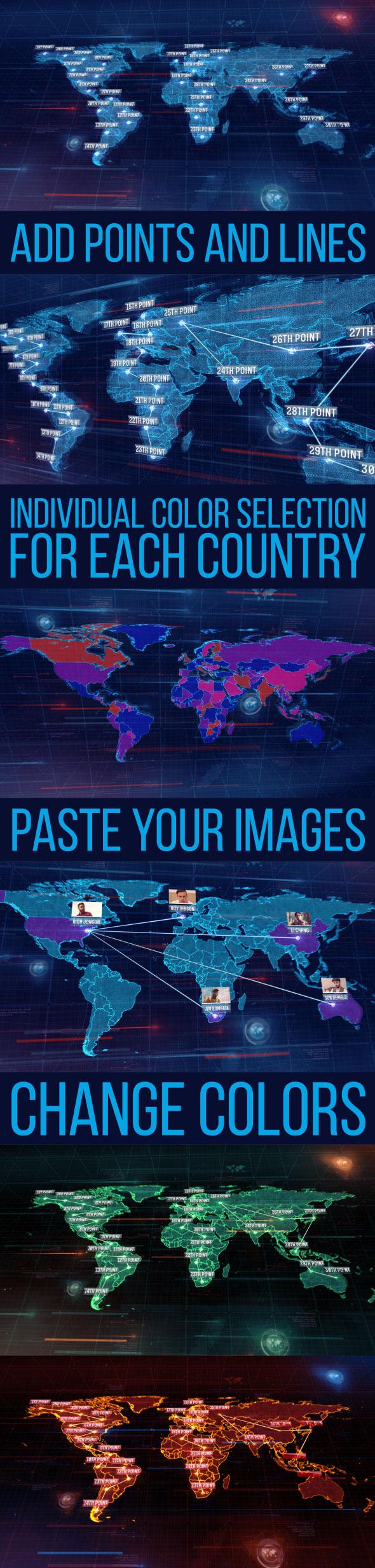 پروژه افترافکت نقشه جهان