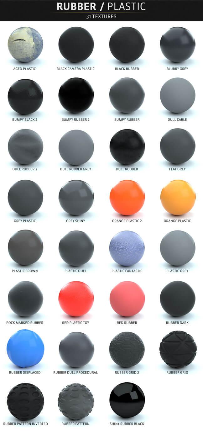 مجموعه کامل متریال های سینمافوردی برای رندر Octane - لاستیک / پلاستیک