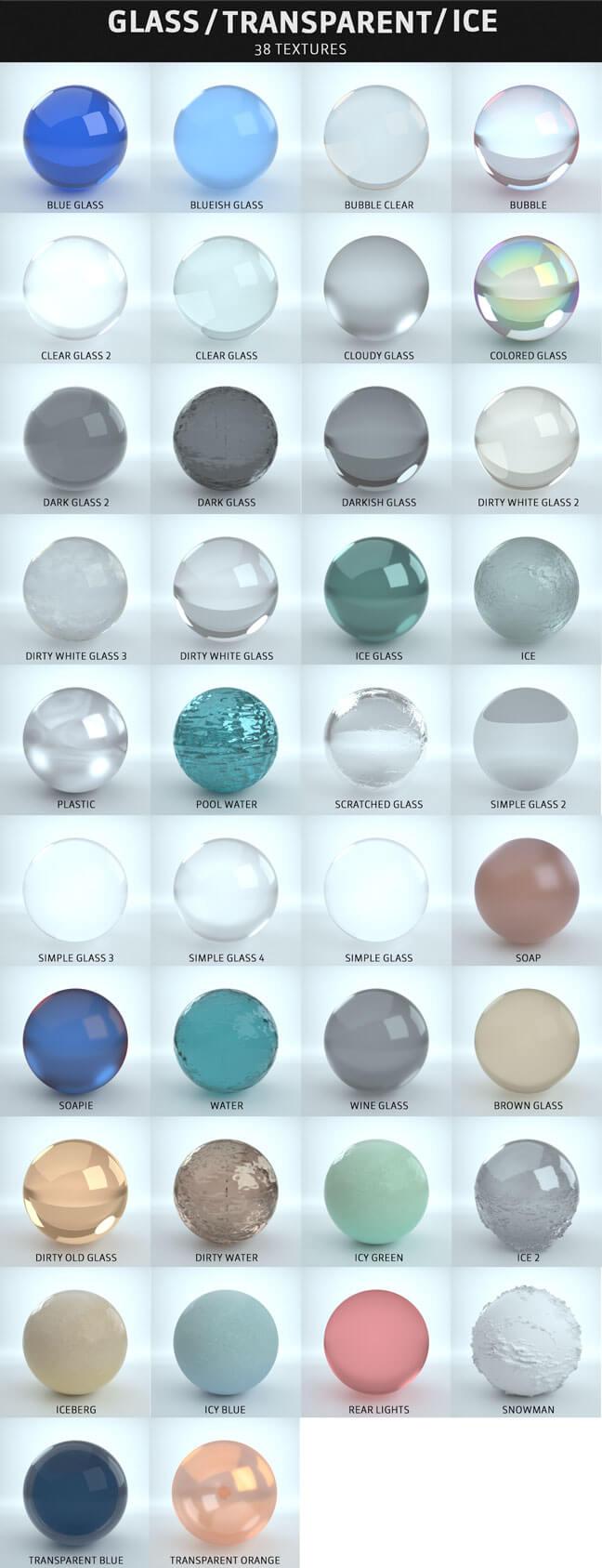 مجموعه کامل متریال های سینمافوردی برای رندر Octane - شیشه / شفاف / یخ