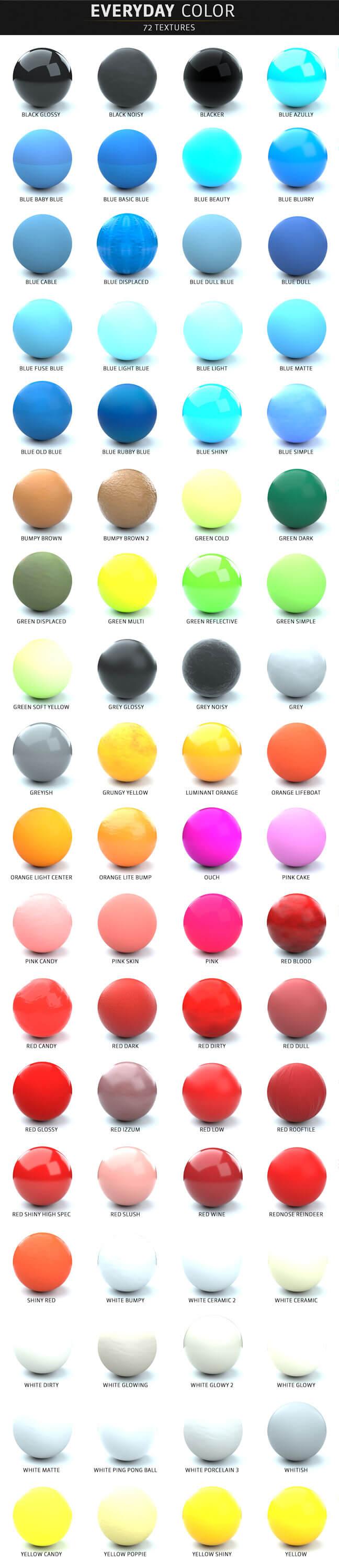 مجموعه کامل متریال های سینمافوردی برای رندر Octane - رنگ های روزانه