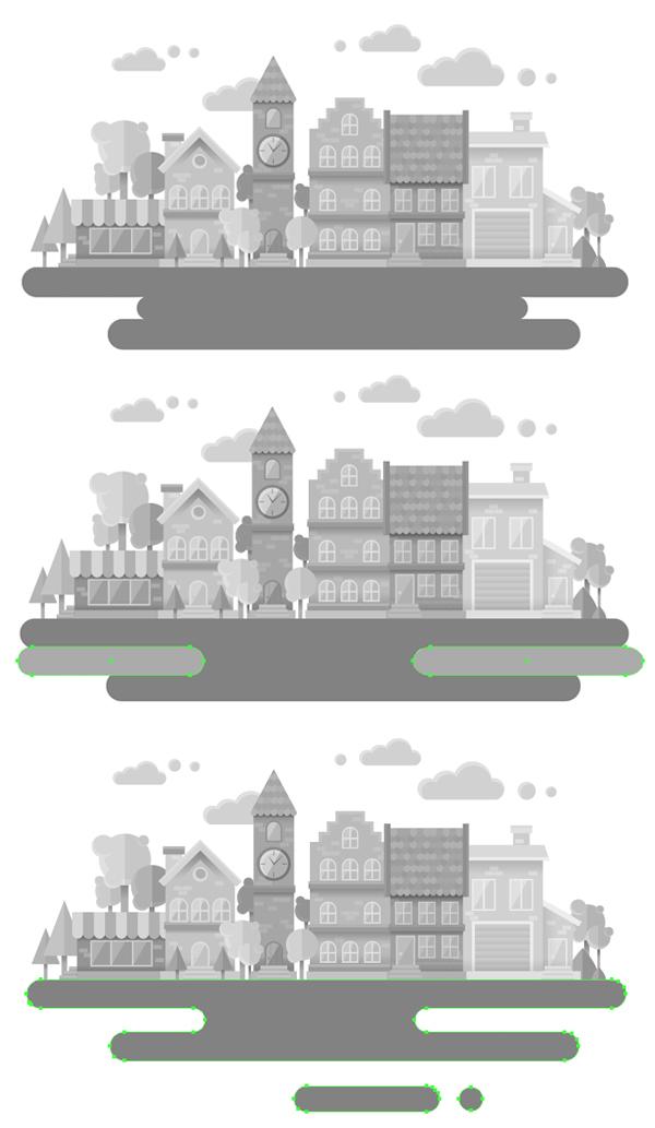 روش ایجاد یک منظره شهری سیاه و سفید فلت در ادوبی ایلوستریتور