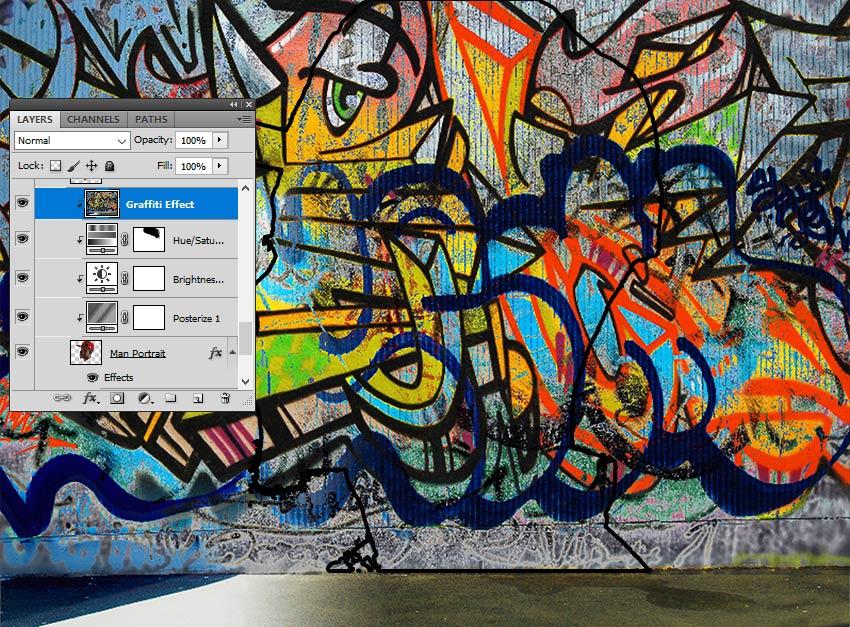 آموزش ایجاد افکت نقاشی دیواری گرافیتی در ادوبی فتوشاپ