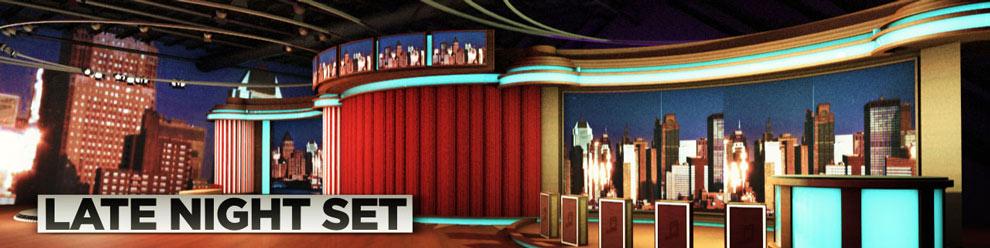مجموعه مدل های سه بعدی سینمافوردی برای ویدیو پروداکشن - نمای داخلی شوی Late Night