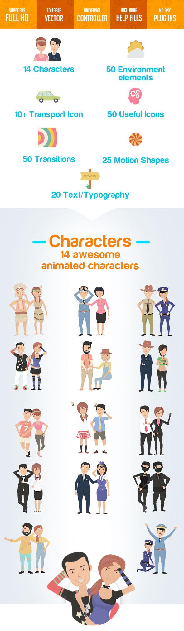 پروژه افترافکت مجموعه ابزار ساخت انیمیشن تبلیغاتی Character City