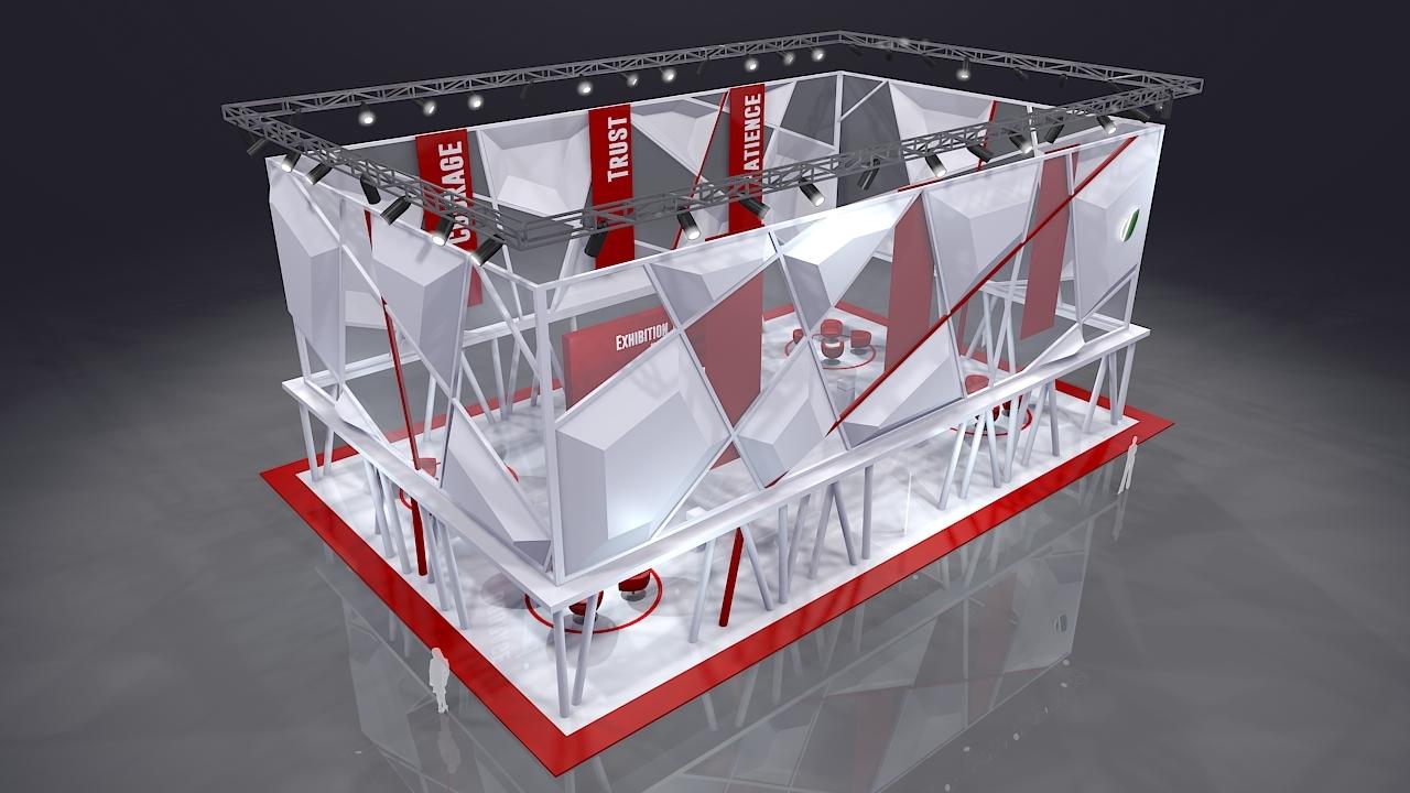 مدل سه بعدی طرح غرفه سالن نمایشگاه
