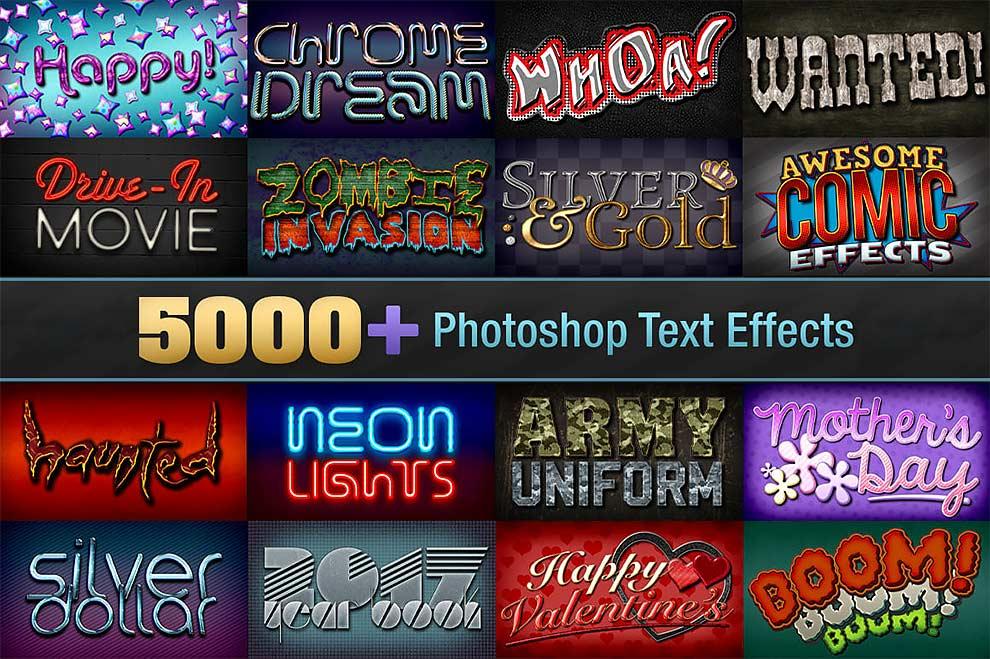 مجموعه عظیم بیش از 5000 افکت متن حرفهای برای فتوشاپ