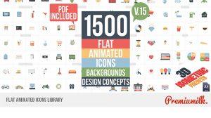 پروژه افترافکت مجموعه 1500 انیمیشن آیکون فلت