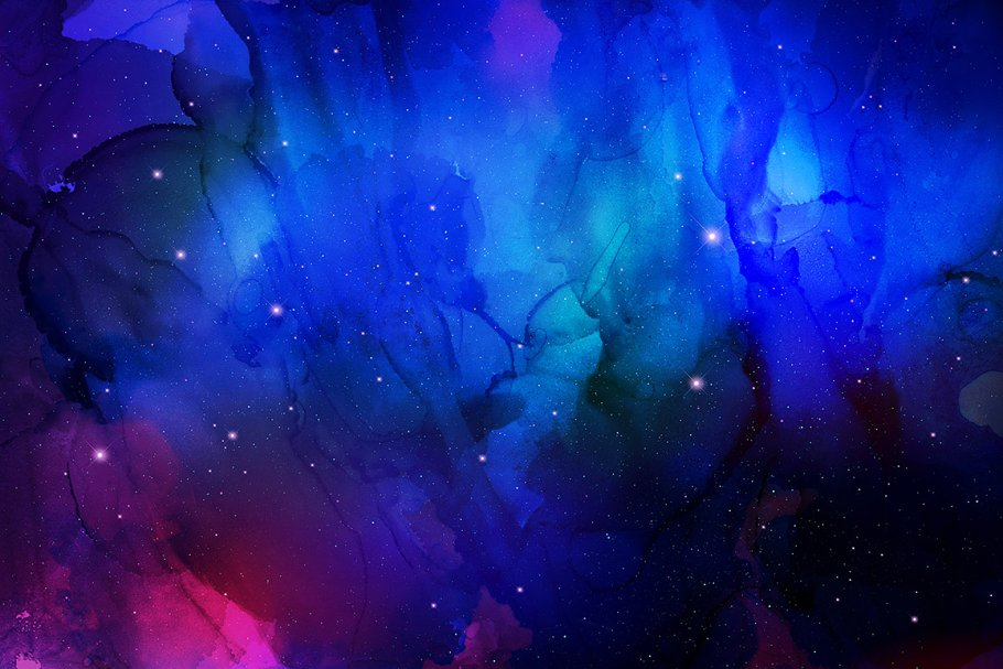 مجموعه تصاویر زمینه جوهری کهکشانی Nebula Ink Backgrounds
